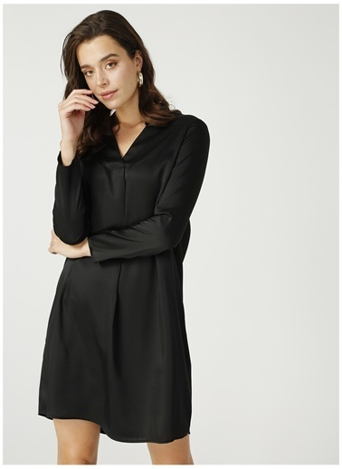 Fabrika Comfort Fabrika Comfort Hakim Yaka Düz Siyah Elbise Siyah